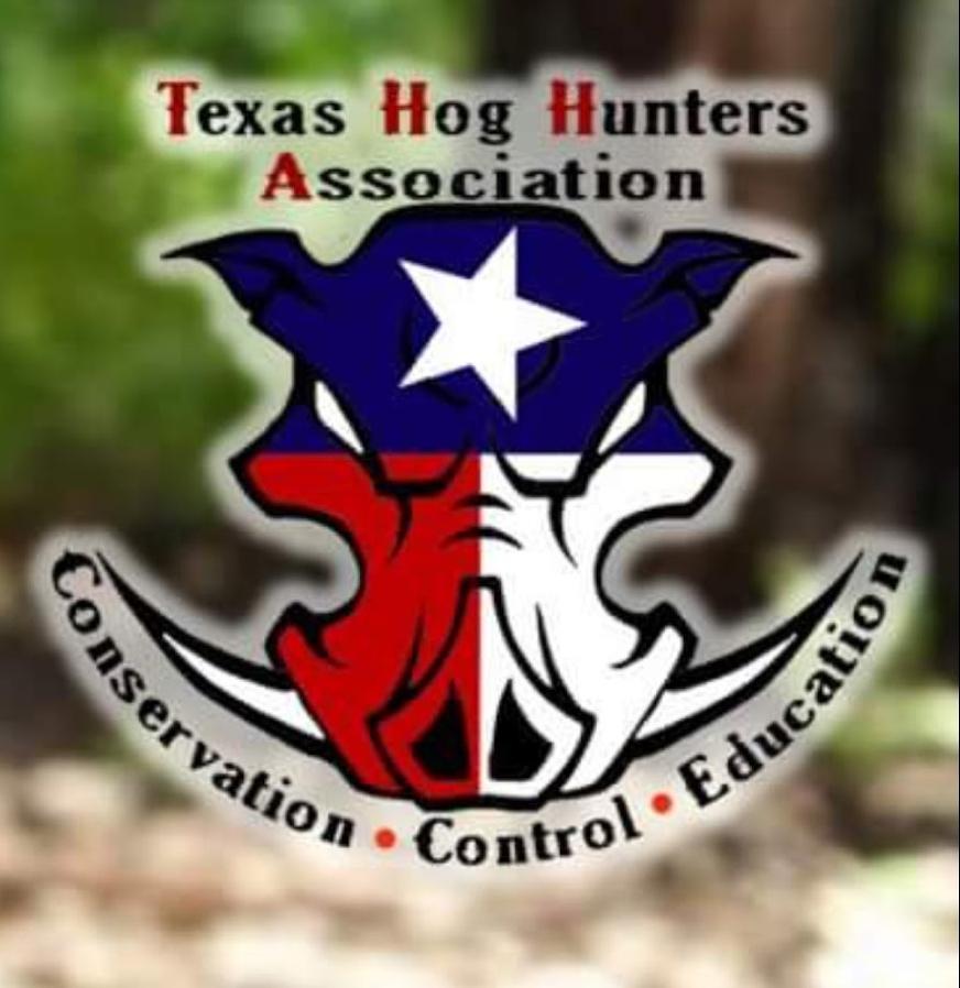Texas Hog Hunters Association logo with a wild boar cartoon face with a texas flag in it